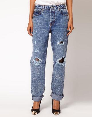 Asos Acid Wash Boyfriend Jeans with Rip Detail