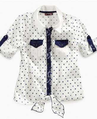 Tempted Kids Shirt, Girls Printed Tie-Front Top