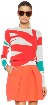 Kenzo Palm Leaf Intarsia Sweater in Coral