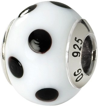 Murano Prerogatives Sterling White/Blk Dot Italian Glass Bead