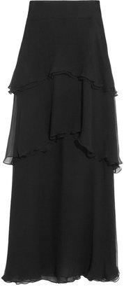 Chloé Tiered Silk-Mousseline Maxi Skirt