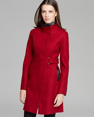 Via Spiga Coat - Belted Faux Leather Detail