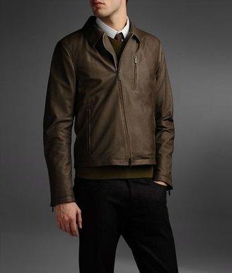 Armani Collezioni Biker Jacket In Nappa Leather With Assymetrical Closure