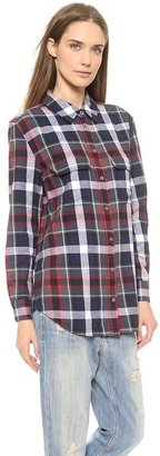 Equipment Signature Button Down Flannel Blouse