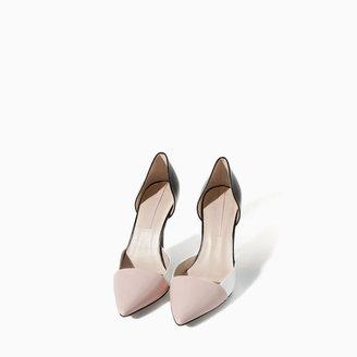Zara Combined Leather High Heel Shoe