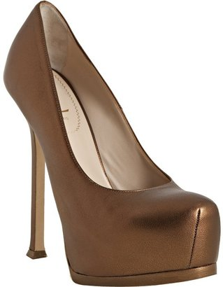 Yves Saint Laurent bronze leather 'Tribute Too 105' platform pumps