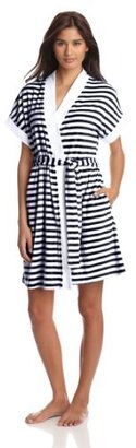 Casual Moments Women's Short Sleeve Striped Robe With Trim