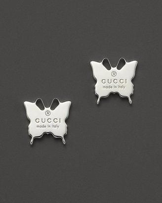 Gucci Sterling Silver Butterfly Stud Earrings
