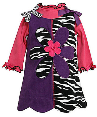 Bonnie Baby Infant Mixed-Media Zebra-Printed Jumper Dress & Long-Sleeve Bodysuit Set