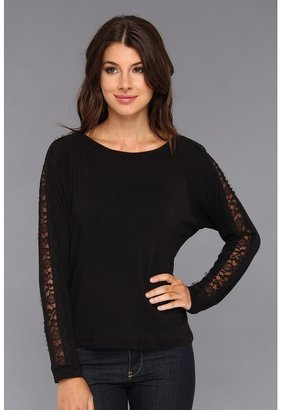 C&C California Stretch Luxe Knit Dolman w/ Lace Detail Women's Long Sleeve Pullover