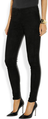 The Row Spetto leather and suede leggings-style pants