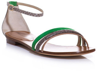 Alexandre Birman Watersnake and suede flat sandals