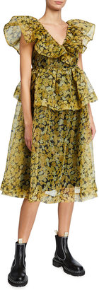 Ganni Angel V-Neck Floral-Print Organza Midi Dress