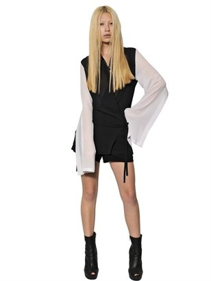 Ann Demeulemeester Two Tone Silk Georgette Wrap Over Shirt