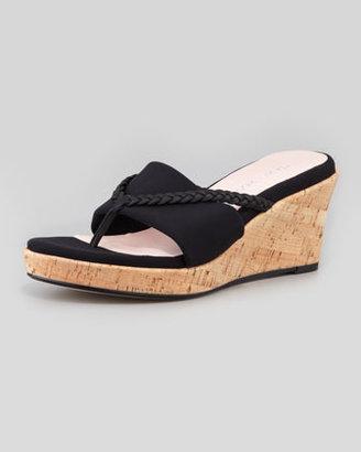 Taryn Rose Keely Braided Cork-Wedge Sandal, Black