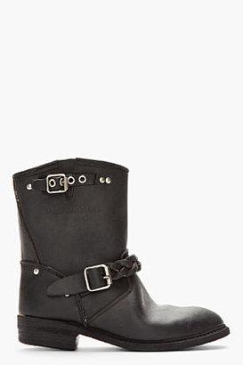 Golden Goose Black Leather Braided Biker Boots