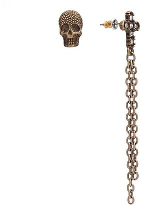 Rock & Republic Rock and republic gold tone simulated crystal mismatch skull and cross stud and fringe drop earrings