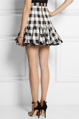 Ruffled gingham silk-blend satin mini skirt