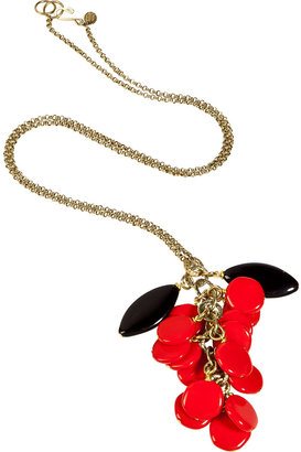 Aris Geldis Red and Black Bead Cluster Necklace