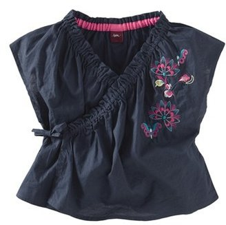 Tea Collection Embroidered Floral Wrap Top (Little Girls & Big Girls)