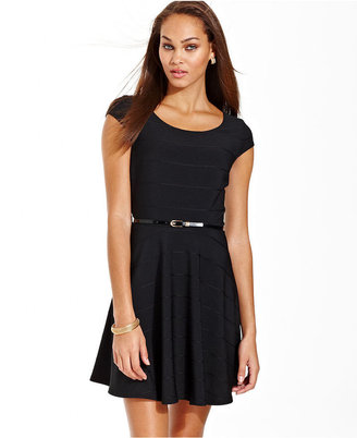 Amy Byer Dress, Cap Sleeve Belted A-Line