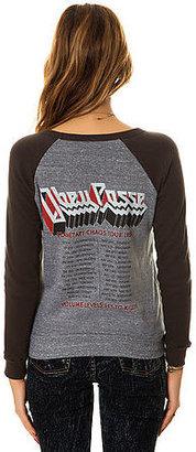Obey The Planetary Chaos Vandal Raglan Sweatshirt in Heather Grey and Vintage Black