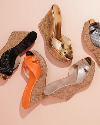 Jimmy Choo Perfume Crisscross Patent Wedge Sandal, Neon Flame