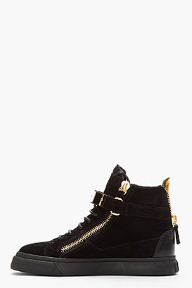 Giuseppe Zanotti Black Suede Gold-Trimmed August Sneakers