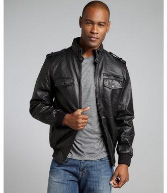 Buffalo David Bitton black faux leather knit trim bomber