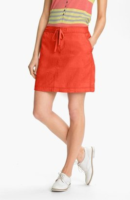 Caslon Drawstring Linen Skirt Grey Cloudburst Small