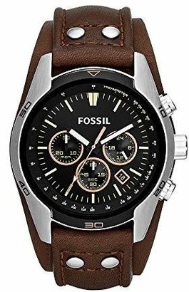 Fossil Men's Coachman Quartz Stainless Steel and Leather Casual Watch Color: Silver
