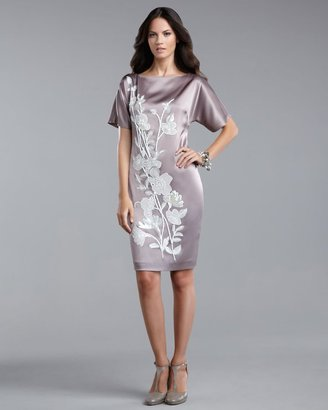 St. John Floral-Applique Liquid Satin Dress