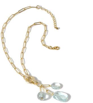 Deborah Grivas Designs Aqua Crystal Tassel Necklace