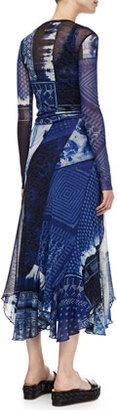 Jean Paul Gaultier Long Printed Dress, Blue