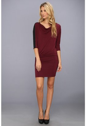 C&C California 3/4 Sleeve Draped Neck Dress with Faux Leather Detail (Dark Cabernet) - Apparel