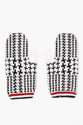 Thom Browne White & Black Wool Glen Plaid Mittens
