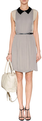 L'Agence LAgence Silk Colorblock Pleated Dress in Stone/Daisy/Black