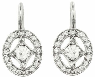 Cathy Waterman Oval Diamond Frame Earrings - Platinum