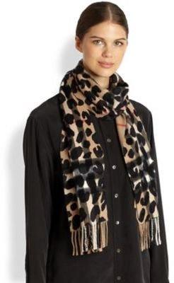 Burberry Cashmere Leopard-Print Check Scarf