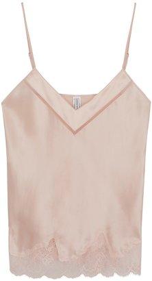 Simone Perele Nocturne Pink Lace-trimmed Satin Camisole
