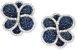 Bella Bleu by EFFY Blue and White Diamond Flower Stud Earrings (2-1/2 ct. t.w.) in 14k White Gold