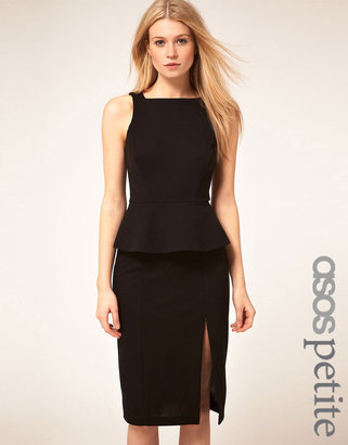 Asos Exclusive Dress With Peplum And Sexy Thigh Split