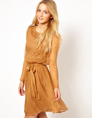 Traffic People Silk Dress With Lace Collar