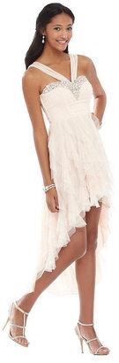 Teeze Me Jeweled Y-Neckline Corkscrew Hi-Low Dress