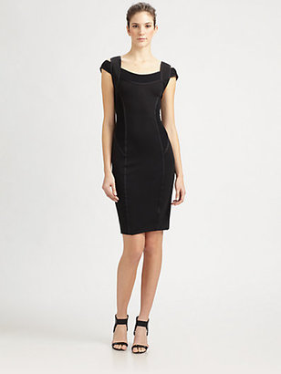 Donna Karan Cold-Shoulder Tape Trim Dress