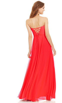 Xscape Evenings Strapless Jewel-Trim Chiffon Gown
