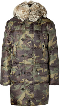 Michael Kors Camouflage Hooded Parka with Fur Collar