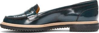 Maison Martin Margiela Teal Waxed Leather Loafers