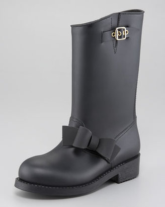 RED Valentino PVC Bow-Detail Rain Boot
