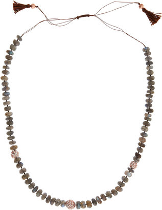 Indulgems Rose Gold Labradorite Tassel Necklace